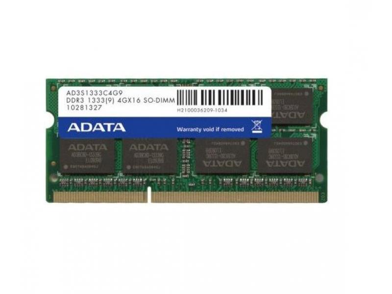 Оперативная память Adata SO-DIMM 4096MB DDR3 PC3-10600 (AD3S1333C4G9-B )