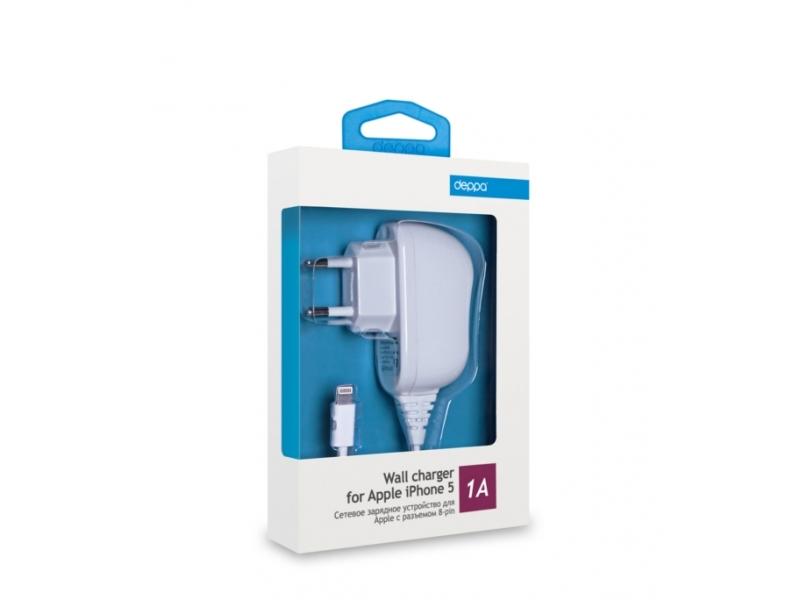Зарядное устройство Deppa 8-pin для Apple iPhone/iPod/iPad white