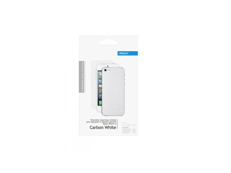 Защитная пленка Deppa Carbon White (IPHONE 5S)