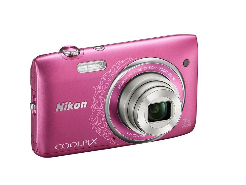 Цифровой фотоаппарат Nikon Coolpix S3500 Pink Lineart+Чехол