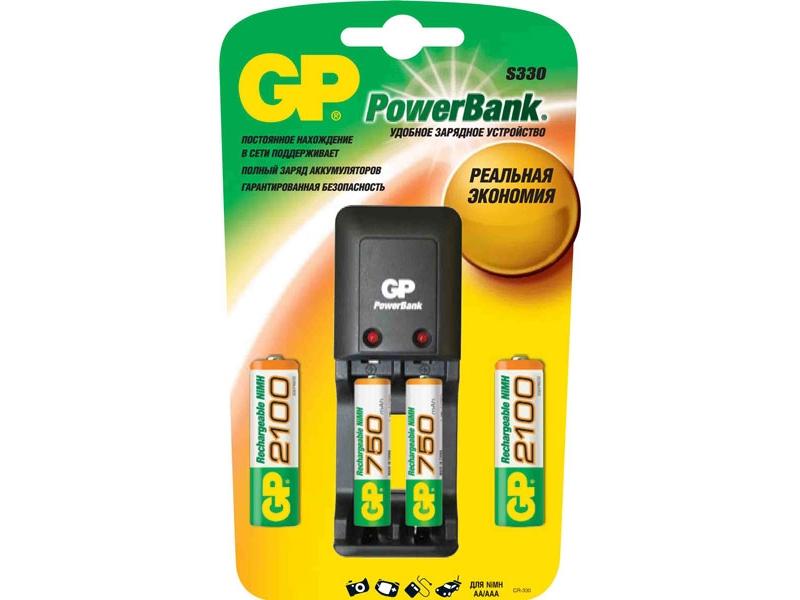 Зарядное устройство Gp PB330GS210/75-CR4 + 4 аккумулятора