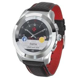 Smart часы Mykronoz Zetime Premium Regular Polished Silver/Black Carbon Red Stitching