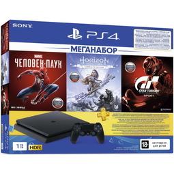 Игровая приставка Sony PlayStation 4 1TB + Gran Turismo Sport + Horizon Zero Dawn + Spider Man