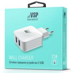 Зарядное устройство BoraSCO 2,1A USB White